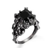 Black Zircon Stainless Steel Ring Gothic Claw Double Skull Rhinestone Finger Ring for Women