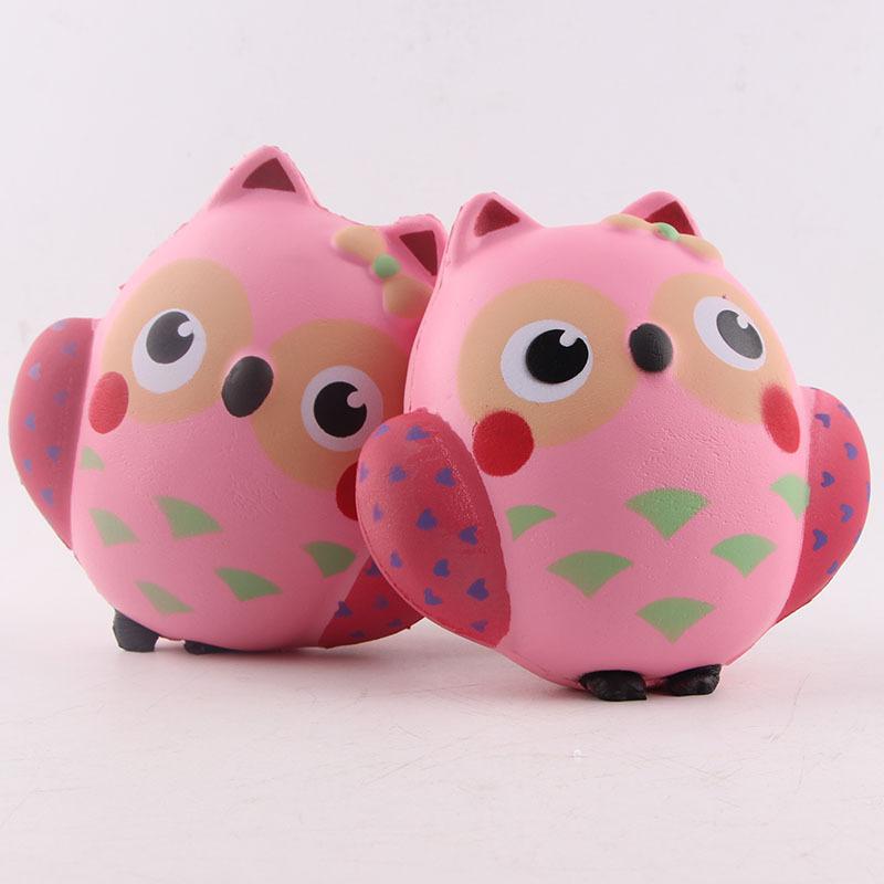 Squishy Owl : PU Simulation Cute Pink Owl Squishy Office Relief Toys Alex NLD