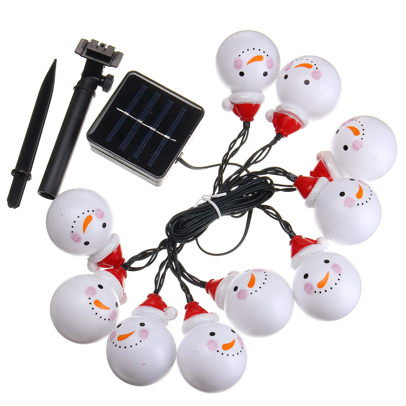 Solar powered 3 5m 20leds snowman fairy string light for 3 d lighted christmas pig holiday outdoor decoration
