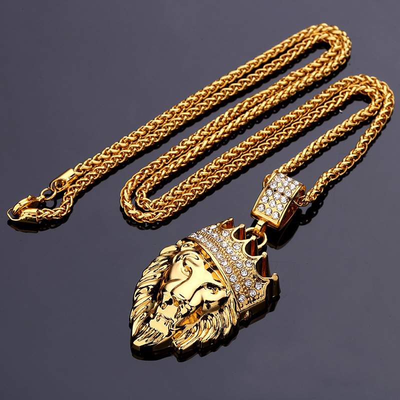 Hip hop fashion gold chain king crown lion head pendant necklace for more detailed photos hip hop fashion gold chain king crown lion head pendant necklace for men aloadofball Gallery