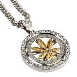 Hip Hop Spinning Snake Chain Marijuana Gold Leaf Pendant Necklace Wholesale for Men
