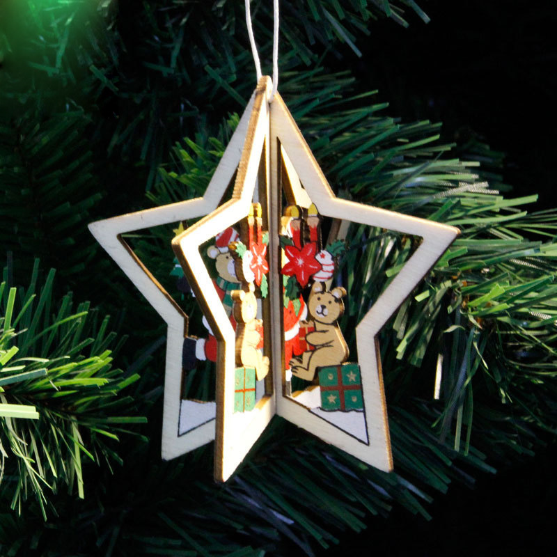 Christmas Tree Return Policy: Christmas 3D Wooden Pendant Star Bell Tree Hang Ornaments