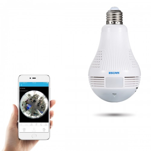 ESCAM QP136 960P Bulb WIFI IP Security Camera 360 Degree Panoramic H.264 Infrared Indoor Motion Detection