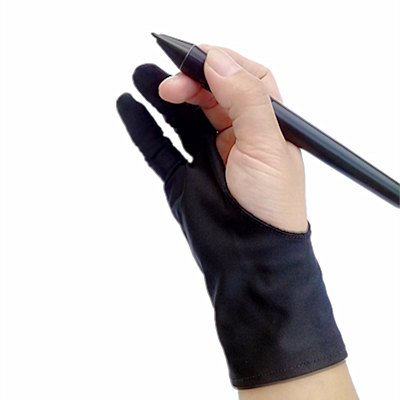 Safety Glove Artist Glove For Any Graphics Tablet Black 2 Finger Anti Fouling Right And Left