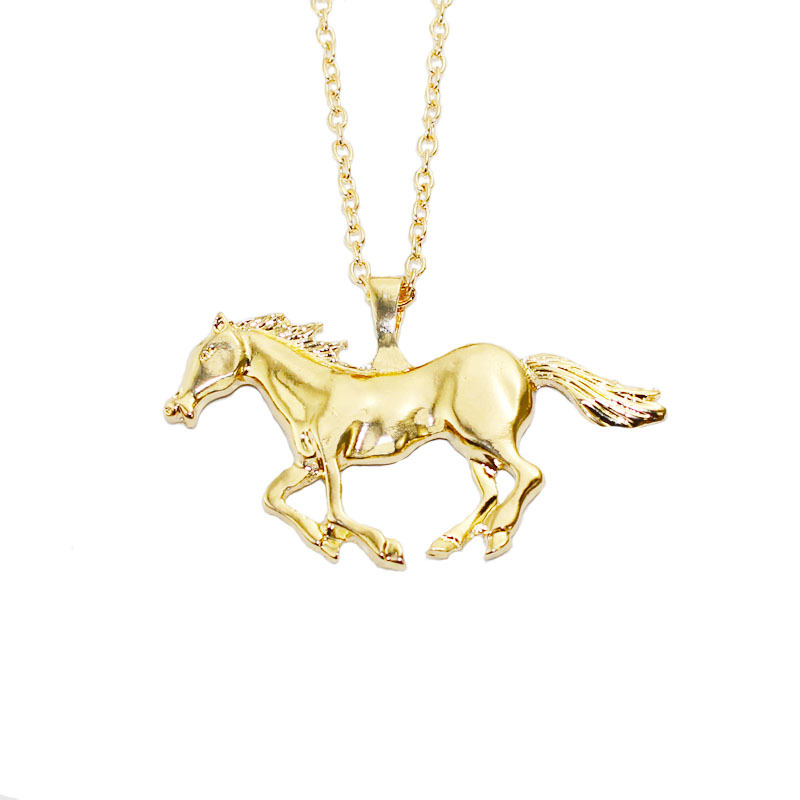 Trendy silver gold color horse pendant necklace sweater chain for trendy silver gold color horse pendant necklace sweater chain for women mozeypictures Gallery