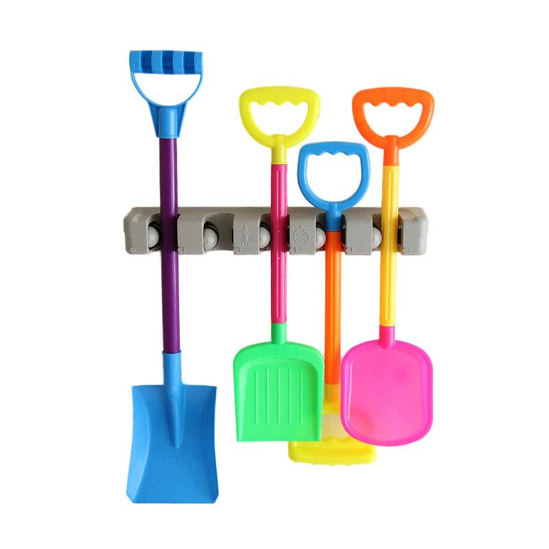 5 Position 6 Hooks Wall Mounted Mop Broom Holder Hanger Kitchen Shelf Storage Holder Home Garage