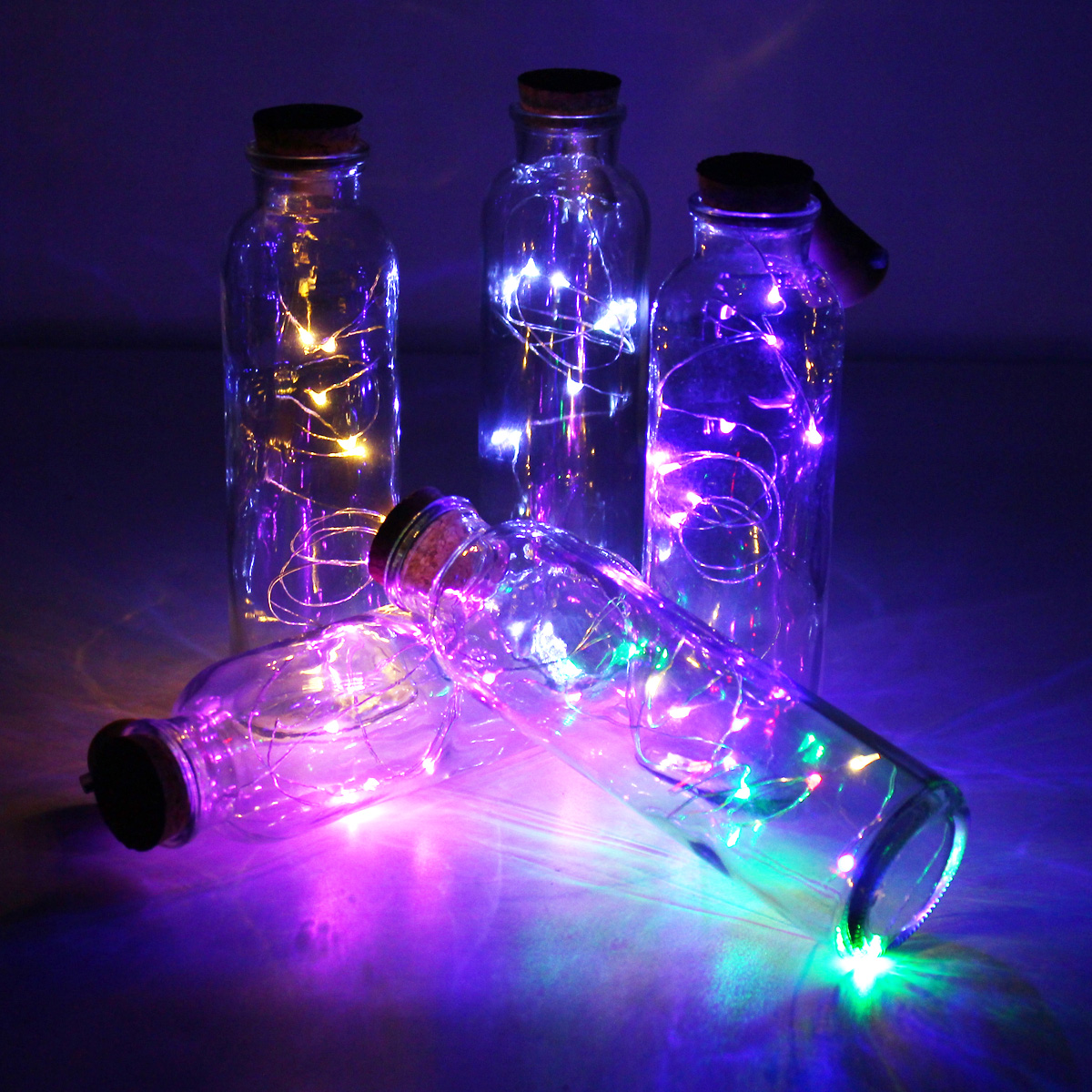 Solar Powered 8leds Cork Shaped Silver Wire Wine Bottle