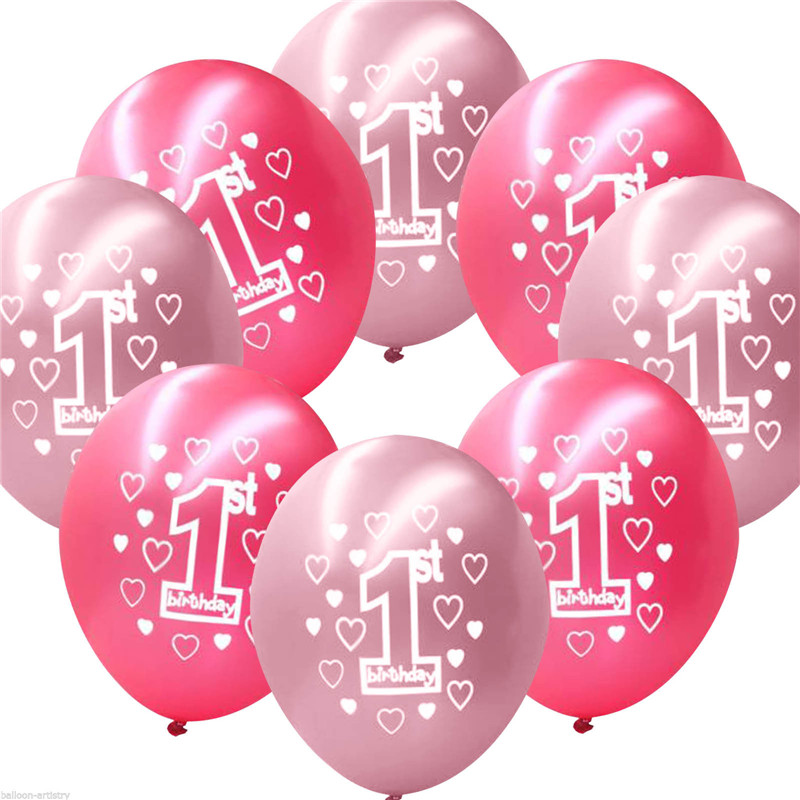 10 per set pink girl 1st birthday printed pearlised for Water balloon christmas decorations