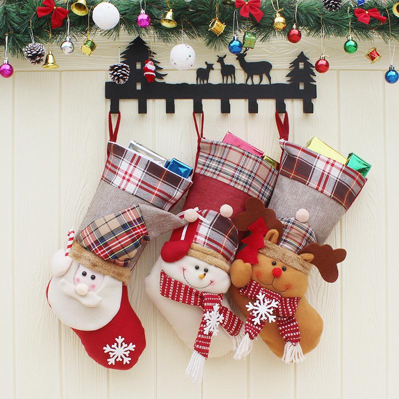 1d251b3ec1c Christmas Candy Bag Stocking Santa Claus Sock Gift Bag Bauble Christmas  Tree Ornaments Decoration