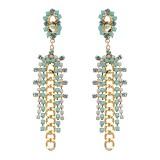 JASSY Bohemian 18K Gold Plated White Opal Rhinestones Elegant Flower Long Link Tassel Earrings