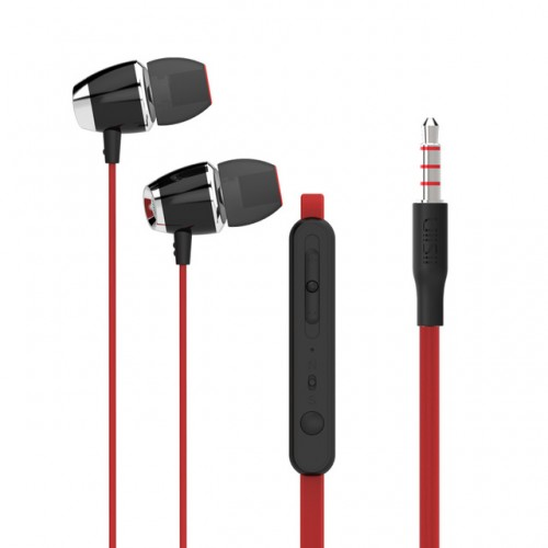 Wired earphones with volume control - earphones with microphone red