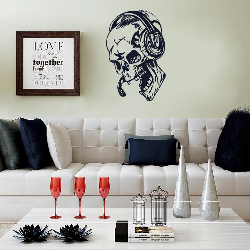 Hallowen Skull Head Showcase Glass Window Decor Wall Sticker Party House Home Decoration Creative Decal DIY Mural Wall Art Sticker