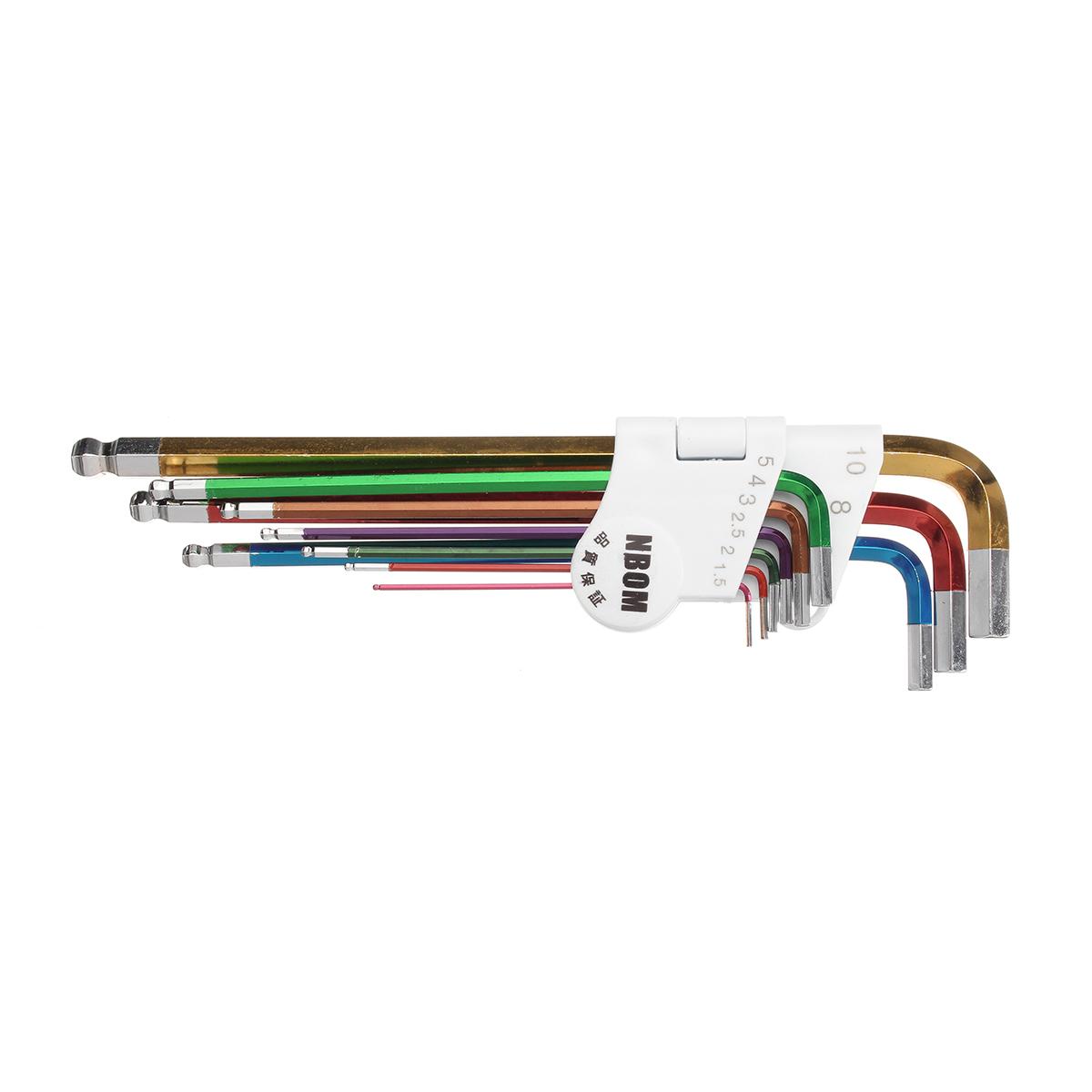 9 Pcs L Shape Hex Key Set Allen Wrench 1.5mm 2mm  2.5mm 3mm 4mm 5mm 6mm 8mm 10mm