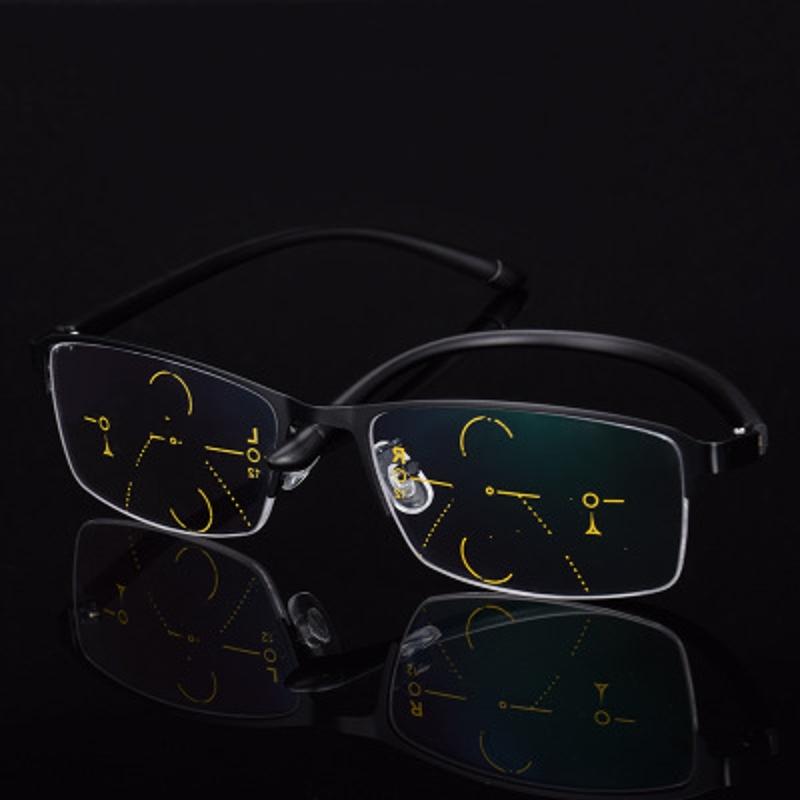 KCASA Progressive Multi-focus Reading Glasses Multifocal Metal Glass 9609