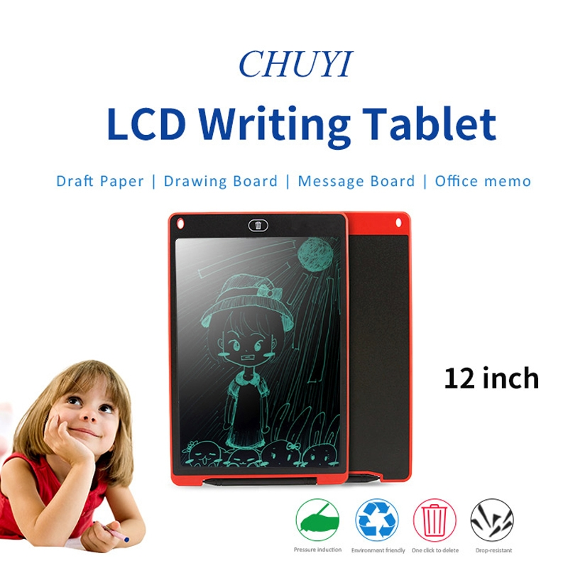 CHUYI Portable 12 inch LCD Writing Tablet Drawing Graffiti Electronic Handwriting Pad Message Graphics Board Draft Paper with Writing Pen, CE / FCC / RoHS Certificated (Black)