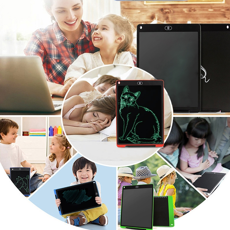 CHUYI Portable 12 inch LCD Writing Tablet Drawing Graffiti Electronic Handwriting Pad Message Graphics Board Draft Paper with Writing Pen, CE / FCC / RoHS Certificated (White)