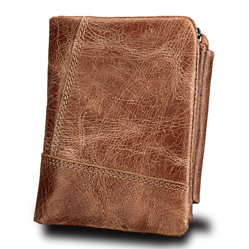 Genuine Cowhide Leather Crazy Horse Texture Zipper 3-folding Short Style Card Holder Wallet RFID Blocking Coin Purse Card Bag Protect Case for Men (Taupe)