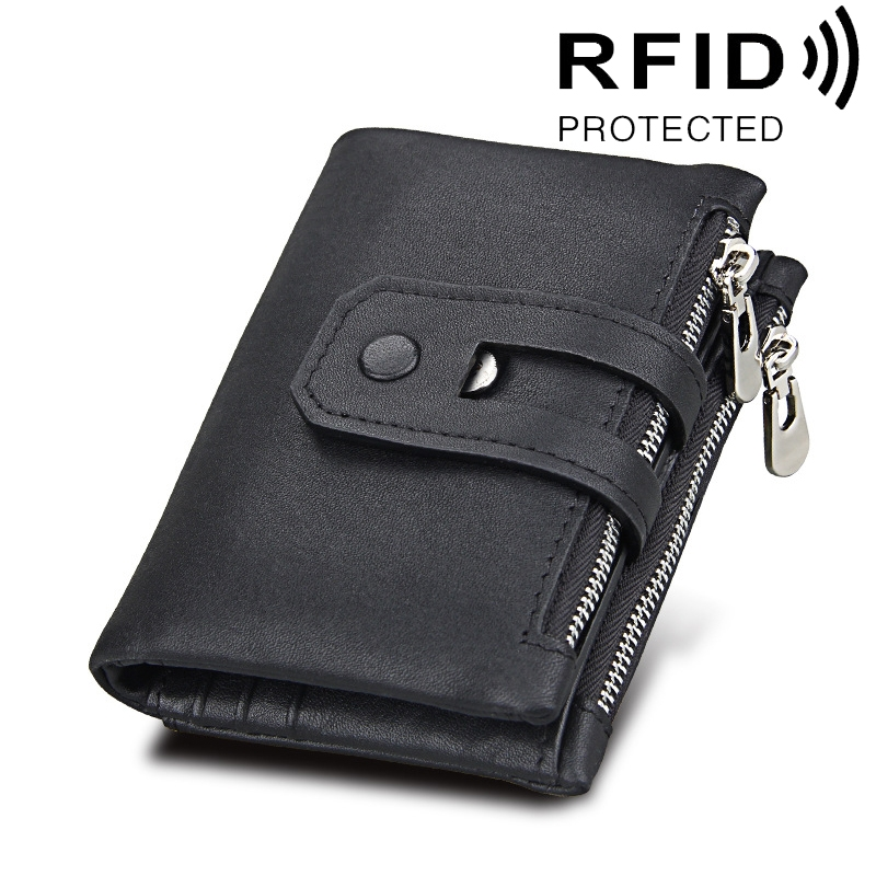 Genuine Cowhide Leather Crazy Horse Texture Zipper 3-folding Card Holder Wallet RFID Blocking Coin Purse Card Bag Protect Case for Men (Black)
