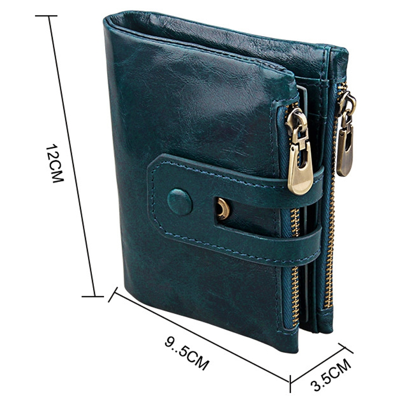 Genuine Cowhide Leather Crazy Horse Texture Zipper 3-folding Card Holder Wallet RFID Blocking Coin Purse Card Bag Protect Case for Men (Blue)