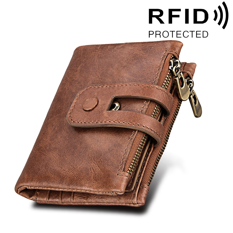 Genuine Cowhide Leather Crazy Horse Texture Zipper 3-folding Card Holder Wallet RFID Blocking Coin Purse Card Bag Protect Case for Men (Taupe)