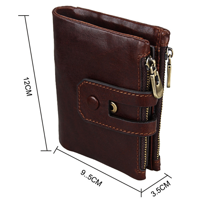 Genuine Cowhide Leather Crazy Horse Texture Zipper 3-folding Card Holder Wallet RFID Blocking Coin Purse Card Bag Protect Case for Men (Red Brown)