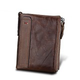 Genuine Cowhide Leather Crazy Horse Texture Dual Zipper Short Style Card Holder Wallet RFID Blocking Card Bag Protect Case for Men (Coffee)