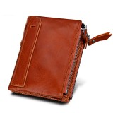 Genuine Cowhide Leather Crazy Horse Texture Dual Zipper Short Style Card Holder Wallet RFID Blocking Card Bag Protect Case for Men (Orange)