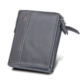 Genuine Cowhide Leather Crazy Horse Texture Dual Zipper Short Style Card Holder Wallet RFID Blocking Card Bag Protect Case for Men (Grey)
