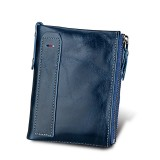 Genuine Cowhide Leather Crazy Horse Texture Dual Zipper Short Style Card Holder Wallet RFID Blocking Card Bag Protect Case for Men (Blue)