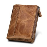 Genuine Cowhide Leather Crazy Horse Texture Dual Zipper Short Style Card Holder Wallet RFID Blocking Card Bag Protect Case for Men (Taupe)