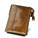 Genuine Cowhide Leather Crazy Horse Texture Dual Zipper Short Style Card Holder Wallet RFID Blocking Card Bag Protect Case for Men (Dark Yellow)