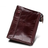 Genuine Cowhide Leather Crazy Horse Texture Dual Zipper Short Style Card Holder Wallet RFID Blocking Card Bag Protect Case for Men (Red Brown)