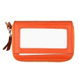 Genuine Cowhide Leather Dual Layer Solid Color Zipper Card Holder Wallet RFID Blocking Coin Purse Card Bag Protective Case with 11 Card Slots & Coin Position (Orange)