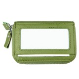 Genuine Cowhide Leather Dual Layer Solid Color Zipper Card Holder Wallet RFID Blocking Coin Purse Card Bag Protective Case with 11 Card Slots & Coin Position (Green)