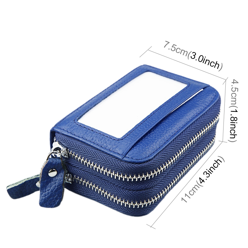 Genuine Cowhide Leather Dual Layer Solid Color Zipper Card Holder Wallet RFID Blocking Coin Purse Card Bag Protective Case with 11 Card Slots & Coin Position (Blue)