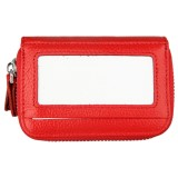 Genuine Cowhide Leather Dual Layer Solid Color Zipper Card Holder Wallet RFID Blocking Coin Purse Card Bag Protective Case with 11 Card Slots & Coin Position (Red)