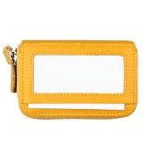 Genuine Cowhide Leather Dual Layer Solid Color Zipper Card Holder Wallet RFID Blocking Coin Purse Card Bag Protective Case with 11 Card Slots & Coin Position (Yellow)