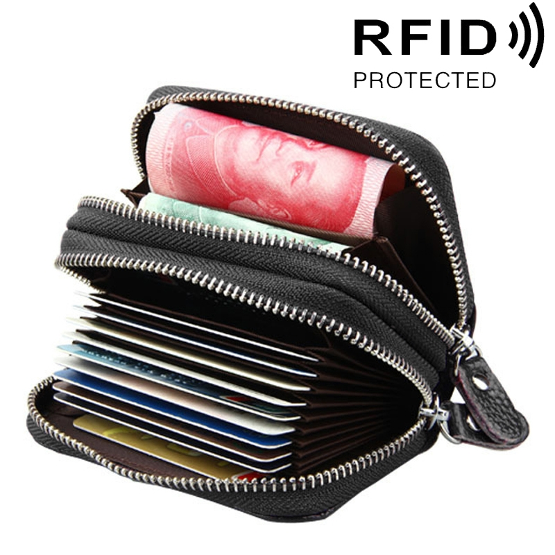 Genuine Cowhide Leather Dual Layer Solid Color Zipper Card Holder Wallet RFID Blocking Coin Purse Card Bag Protect Case with Card Slots & Coin Position (Coffee)