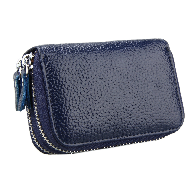 Genuine Cowhide Leather Dual Layer Solid Color Zipper Card Holder Wallet RFID Blocking Coin Purse Card Bag Protect Case with Card Slots & Coin Position (Dark Blue)