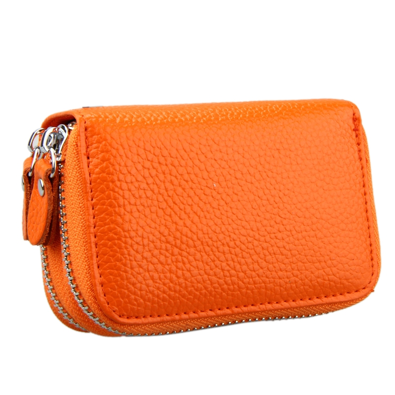 Genuine Cowhide Leather Dual Layer Solid Color Zipper Card Holder Wallet RFID Blocking Coin Purse Card Bag Protect Case with Card Slots & Coin Position (Orange)