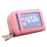 Genuine Cowhide Leather Dual Layer Solid Color Zipper Card Holder Wallet RFID Blocking Coin Purse Card Bag Protect Case with Card Slots & Coin Position (Pink)