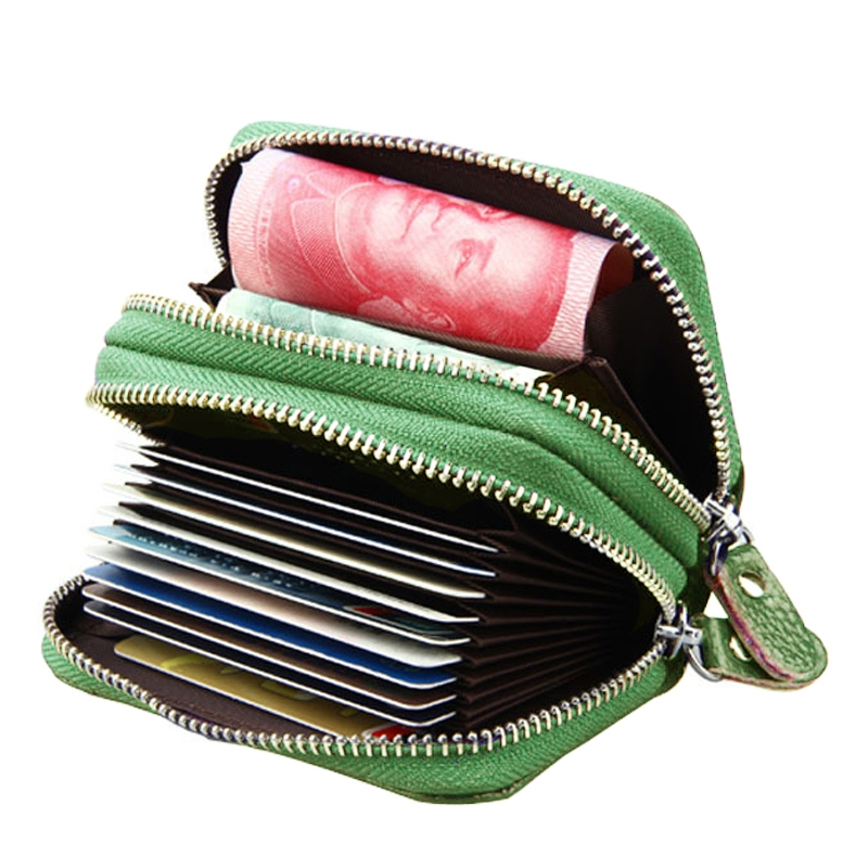 Genuine Cowhide Leather Dual Layer Solid Color Zipper Card Holder Wallet RFID Blocking Coin Purse Card Bag Protect Case with Card Slots & Coin Position (Green)