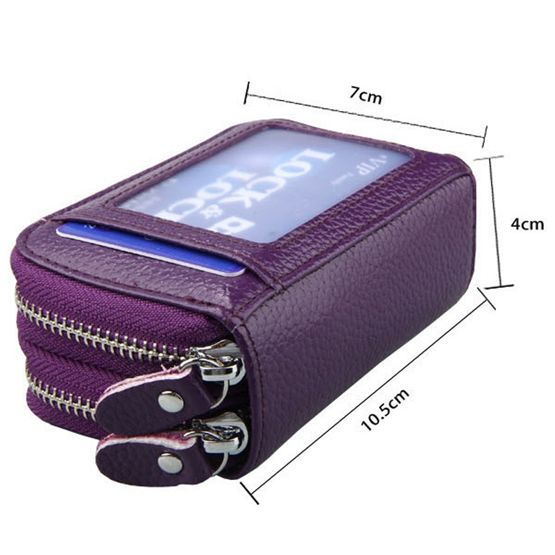 Genuine Cowhide Leather Dual Layer Solid Color Zipper Card Holder Wallet RFID Blocking Coin Purse Card Bag Protect Case with Card Slots & Coin Position (Purple)
