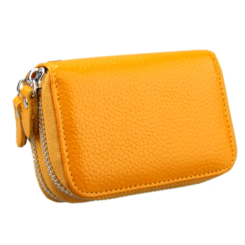 Genuine Cowhide Leather Dual Layer Solid Color Zipper Card Holder Wallet RFID Blocking Coin Purse Card Bag Protect Case with Card Slots & Coin Position (Yellow)