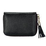 Genuine Cowhide Leather Solid Color Zipper Card Holder Wallet RFID Blocking Card Bag Protect Case Coin Purse with Tassel Pendant & 15 Card Slots for Women (Black)