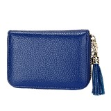 Genuine Cowhide Leather Solid Color Zipper Card Holder Wallet RFID Blocking Card Bag Protect Case Coin Purse with Tassel Pendant & 15 Card Slots for Women (Blue)