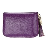 Genuine Cowhide Leather Solid Color Zipper Card Holder Wallet RFID Blocking Card Bag Protect Case Coin Purse with Tassel Pendant & 15 Card Slots for Women (Purple)