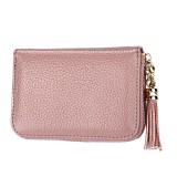 Genuine Cowhide Leather Solid Color Zipper Card Holder Wallet RFID Blocking Card Bag Protect Case Coin Purse with Tassel Pendant & 15 Card Slots for Women (Beans Pink)