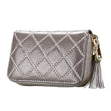 Genuine Cowhide Leather Grid Texture Zipper Card Holder Wallet RFID Blocking Card Bag Protect Case Coin Purse with Tassel Pendant & 15 Card Slots for Women (Grey)