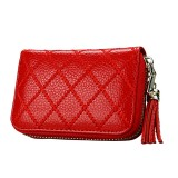 Genuine Cowhide Leather Grid Texture Zipper Card Holder Wallet RFID Blocking Card Bag Protect Case Coin Purse with Tassel Pendant & 15 Card Slots for Women (Red)